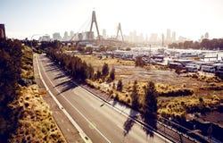 Anzac Bridge and buildings in Sydney Stock Image