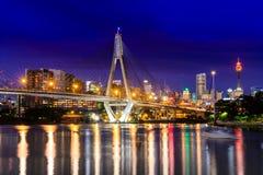 Anzac Bridge i Sydney City, Australien arkivbild