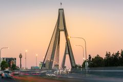 Anzac bridge with moving cars in the evening. Sydney infrastructure stock image