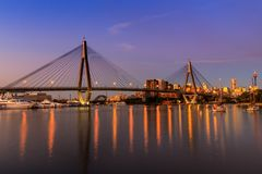 Anzac Bridge in Sydney City, Australia. Anzac Bridge by night in Glebe, Sydney, Australia stock photo