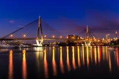 Anzac Bridge in Sydney City, Australia. Anzac Bridge by night in Glebe, Sydney, Australia stock photos
