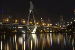 Anzac bridge at night time, Sydney Australia. View on Anzac bridge at night time, Sydney Australia royalty free stock image