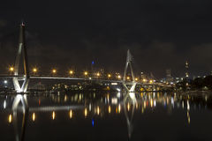 Anzac bridge at night time, Sydney Australia royalty free stock photo