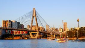 Anzac bridge over Blackwattle Bay in the evening. View form the Blackwattle Bay public park with AMP Tower in the background royalty free stock images