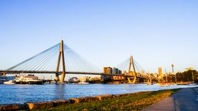 Anzac bridge over Blackwattle Bay in the evening, view form the Blackwattle Bay public park with AMP Tower royalty free stock photo
