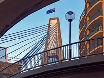 Anzac Bridge, Pyrmont, NSW, Australia. Detail of the modern Anzac Bridge, a cable stayed bridge linking Pyrmont and Glebe, Sydney Harbour, NSW, Australia, with stock photos
