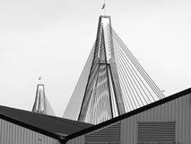 Anzac Bridge, Sydney, Australia. Anzac Bridge, a cable-stayed bridge, view from Pyrmont, Sydney, Australia stock photos