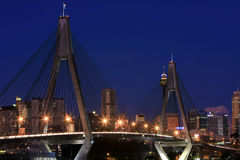 ANZAC Bridge, Sydney, Australia, at night. Anzac Bridge, Sydney, Australia at night, with a city background stock photos