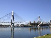 Anzac Bridge & Sydney CBD. Taken from bicentennial park in glebe stock images
