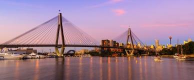 Anzac Bridge in Sydney City, Australia. Sunset over the Anzac Bridge, Sydney, Australia stock photography