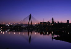 Anzac Bridge, Sydney Harbour, Australia. The ANZAC Bridge, Sydney Harbour, Australia at sunrise Stock Image