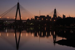 Anzac Bridge, Sydney Harbour, Australia. The ANZAC Bridge, Sydney Harbour, Australia at sunrise Royalty Free Stock Photography