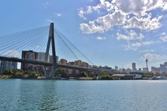 Anzac Bridge, Sydney. Anzac Bridge is one of Sydney`s landmarks. This slotted cable bridge has eight files and was opened in 1995 stock photos