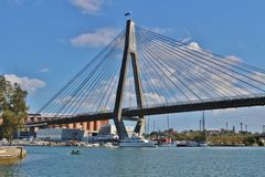 Anzac Bridge, Sydney. Anzac Bridge is one of Sydney`s landmarks. This slotted cable bridge has eight files and was opened in 1995 stock image