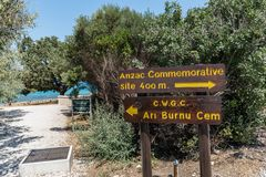 Anzac Cove in Gallipoli at Canakkale Turkey. An information sign at ANZAC cove, site of World War I landing of the ANZACs on the Gallipoli peninsula in Canakkale royalty free stock images
