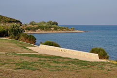 Anzac Cove, Galllipoli, Turkey. Site of Anzac Landings and Battles in 1915 in World War One (WW1 royalty free stock photos