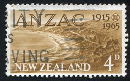 Anzac Cove. NEW ZEALAND - CIRCA 1965: stamp printed by New Zealand, shows Anzac Cove, Gallipoli, circa 1965 royalty free stock image