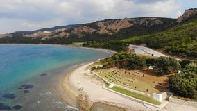 Anzac cove. Anzac Cove is a small cove on the Gallipoli peninsula in Turkey. It became famous as the site of World War I landing of the ANZACs on 25 April 1915 stock video footage