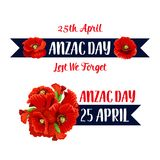 Anzac Day 25 April-het vectorpictogram van de papaverbos Stock Foto