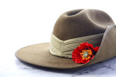 ANZAC Day Australian Slouch Hat. ANZAC Day, April 25, army slouch hat on white marble table stock photos