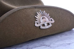 ANZAC Day Australian Slouch Hat. ANZAC Day, April 25, army slouch hat on white marble table, closeup Stock Photos