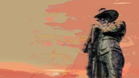 Anzac Day background illustration with soldier and sunset royalty free stock images