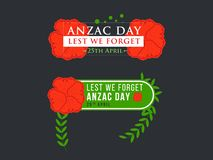 Anzac Day Banner med röda Poppy Flower royaltyfri illustrationer