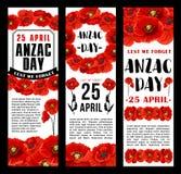 Anzac Day bannières rouges de vecteur de pavot du 25 avril Image stock