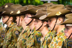 Anzac Day Cadets. A group of cadets dressed in military uniform listening and on guard during the commemoration of Anzac Day in Australia stock photos