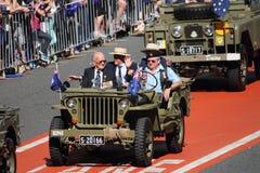Anzac day commemorations. BRISBANE, AUSTRALIA - APRIL 25 : Older veterans driven along march route during Anzac day commemorations  April 25, 2013 in Brisbane Stock Photos