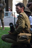 Anzac day commemorations. BRISBANE, AUSTRALIA - APRIL 25 : Unidentified World War 2 reenactor poses during Anzac day commemorations  April 25, 2013 in Brisbane Royalty Free Stock Image