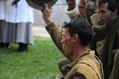 Anzac day commemorations. BRISBANE, AUSTRALIA - APRIL 25 : Unidentified World War 2 reenactors give cheers during Anzac day commemorations  April 25, 2013 in Royalty Free Stock Photos