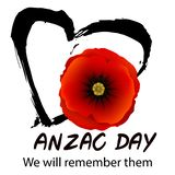 Anzac day concept. Anzac day background with red abstract poppies. Red poppy flower on black grunge heart background.   illustration royalty free illustration
