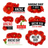 Anzac Day-herdenkings de kaartontwerp van de papaverbloem Royalty-vrije Stock Afbeeldingen