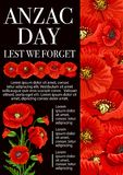 Anzac Day poppy flower for Lest We Forget banner royalty free illustration