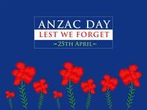 Anzac Day Lest We Forget op Blauwe Vectorillustratie Als achtergrond vector illustratie