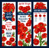 Anzac Day Lest We Forget-pictogram van het papaver het vectorlint Royalty-vrije Stock Afbeeldingen