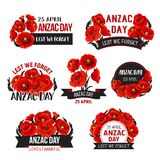 Anzac Day Lest We Forget poppy vector ribbons icons. Anzac Day icons of red poppy flowers for 25 April Australian and New Zealand war remembrance anniversary stock illustration
