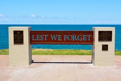 Anzac Day Memorial n Elliott Heads Memorial Park near Bundaberg. Bundaberg, Queensland, Australia - December 25, 2017. Anzac Day Memorial at Submarine Lookout Stock Photography