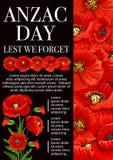 Anzac Day-Mohnblumenblume für, aus Furcht, dass wir Fahne vergessen lizenzfreie abbildung
