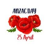 Anzac Day-Mohnblumenvektor 25 April Australian-Ikone Lizenzfreie Stockfotografie