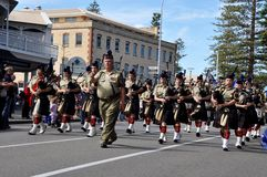 Anzac Day Parade of Bagpipers in Fremantle, Western Australia Stock Image