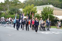 Anzac Day-parade in Corrumbin, Palm Beach in Australi? 2019 stock afbeeldingen