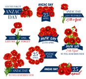 Anzac Day-pictogram van papaverbloem en herdenkingslint Stock Foto