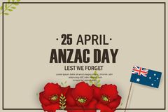 Anzac Day poppies memorial anniversary holiday in Australia, New Zealand war veterans memory. Anzac Day 25 April. Australian war remembrance day poster or Royalty Free Stock Images