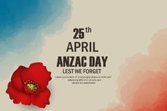 Anzac Day poppies memorial anniversary holiday in Australia, New Zealand war veterans memory. Anzac Day 25 April Australian war re. Membrance day poster or Stock Photos