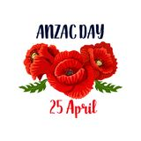 Anzac Day poppy vector 25 April Australian icon. Anzac Day red poppy flowers icon design for 25 April Australian and New Zealand remembrance anniversary greeting royalty free illustration