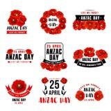 Anzac Day rode de papaver vectorpictogrammen van 25 April Stock Afbeelding