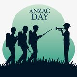 Anzac day with Silhouette soldiers in the field. Vector illustration graphic design Royalty Free Stock Photo