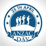 Anzac day with Silhouette soldiers in the field. Vector illustration graphic design Royalty Free Stock Image